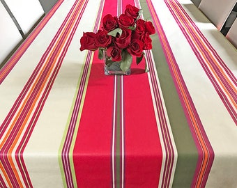 "72 - 120"" Rectangle or Oval Laminated Stain Resistant TableCloth Biarritz in Red - Extra Wide up to 115"" wild and Umbrella Hole available"