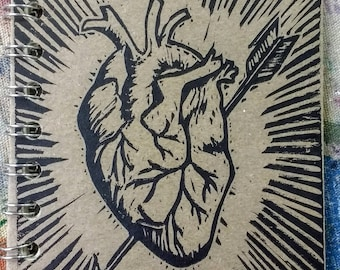 Small Block Print Recycled Blank Book - Heart