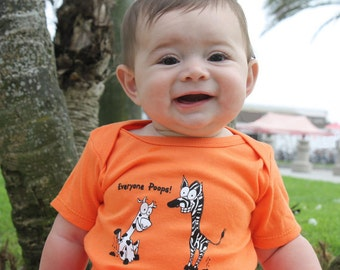 SALE - Infant baby shower or birthday gift - hand drawn art on an orange Tshirt