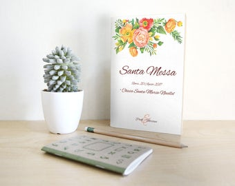 Matching wedding booklet with invitations. Orange and red floral style.