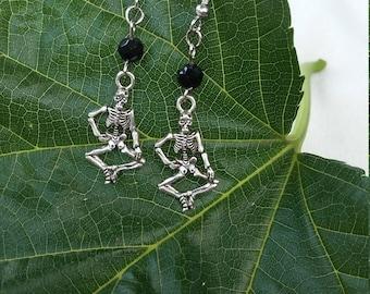 Black and silver skeleton earrings