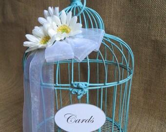 Small Turquoise Wedding Bird Cage Card Holder, Wedding Money Holder, Baby Shower Card Holder, Wedding Birdcage, Wedding Cash Box