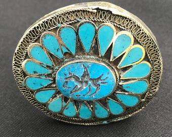 Kuchi CARVED Two Finger RING Turquoise Color Theater Belly Dance Costume Jewelry Uber Kuchi®