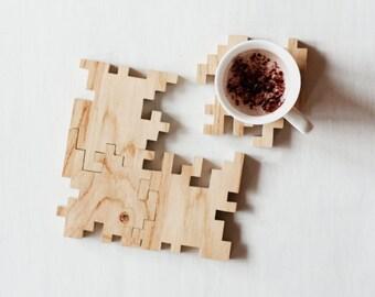 Wooden Coasters - Puzzle Coasters - Solid Oak - Geometric - Interlocking Puzzle - Jigsaw - Wood Puzzle - Coaster set - Home decor - Set of 4
