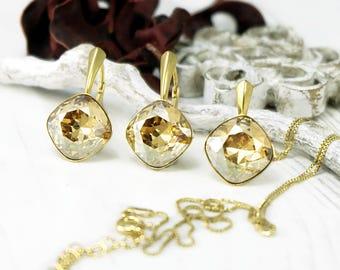 Champagner Kristallohrringe, Swarovski Ohrringe, brautjungferngeschenk, Gold Kissen geschnitten Ohrring Anhänger, Silber Brautjungfern Ohrringe, Kristall-set