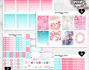 Vertical Weekly Kit Planner Stickers - Spring Sakura Cherry Blossoms | Boxes, MDN, Icons | For Use With Erin Condren Life Planner™ (EC-003)