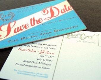 Save the Date Vintage Beer Label Microbrewery Wedding