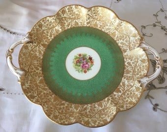 George Jones & Sons, Crescent China,  English Two Handled Antique Decorative Dish. Gilded Scroll Floral Pattern, Carnival Scalloping Rim.