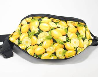 Fanny pack Lemon fabric - Cute  - Hip Waist Bag - 2 Zippers