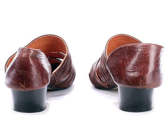 Pointed EUR Strap 5 4 Leather 90s Women Slides Summer 5 Shoes Crinkled UK Two Us Heel Brown Flat Shoes Bohemian Open Stable 7 Sandals 37 S7x7qERwB