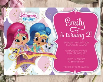Pink Shimmer and Shine Birthday Invitation, Printable Birthday Invite, Free Thank You Card, Instant Download, Childrens Party, Kids Card