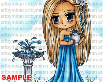 Digital Stamp - Theophilia (#300), Digi Stamp, Coloring page, Printable Line art for Card and Craft Supply