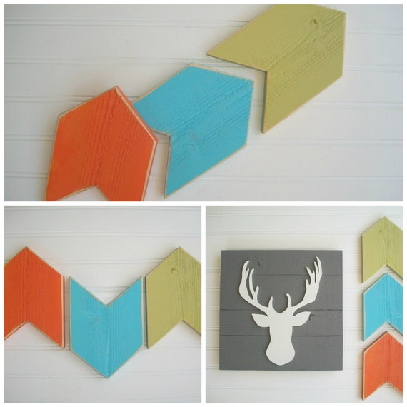 Nursery Arrow . Arrow Nursery . Arrow Set .  Blue Orange Arrows . Arrow .Chevron Arrow . Modern Nursery . Tribal Nursery . 5 x 7 . Boho Baby