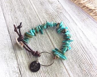 Bright Turquoise Chip Bracelet, Boho Bracelets
