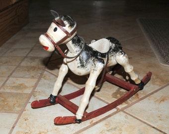 Vintage Enesco Imports Primitive Wooden Rocking Horse, Made in Spain, Primitive/Rustic Decor, Candle Holder?