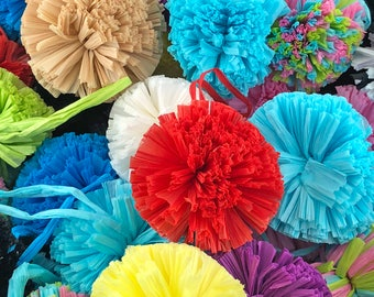"""Raffia Pom Poms with Loops for DIY Crafts, Pom Poms for Baskets, Decorations, Ornaments, Fashion, Handmade from Natural Raffia Fibers, 2.5"""""""