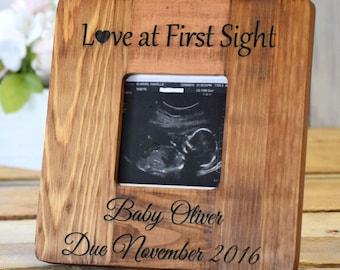 Ultrasound Picture Frame - Custom Engraved Picture Frame - Wooden Picture Frame - Sonogram Frame - New Baby Gift - Baby Shower Gift