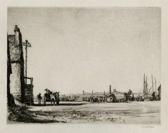 "DAVID MUIRHEAD BONE (Scottish, 1876-1953), ""Walberswick Ferry, Southold"", 1914, original drypoint, pencil signed"