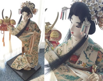 CLEARANCE!! 65% off! Traditional Japanese Kimono Doll holding Kabuto