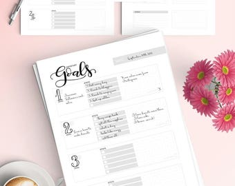 Goal tracker pack (5 pages) - Letter size - Printable planner