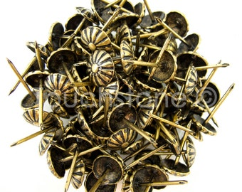 100 Pack Antique Brass Daisy Nail Tacks 3/4""