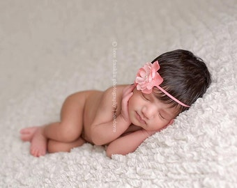 Coral Pink Baby Flower Headband, Newborn Headband, Baby Girl Flower Headband, Photography Prop