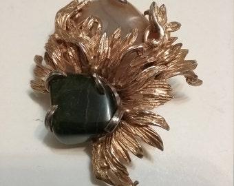 Hattie Carnegie Leaf and Stone Brooch