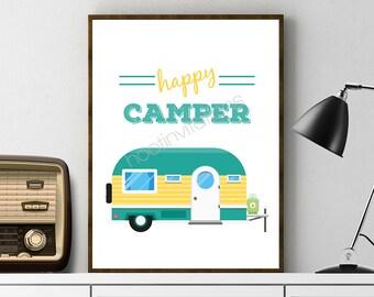 Happy Camper sign - Happy Camper decor  - camper poster - caravan Wall Art Printable INSTANT DOWNLOAD Blue Yellow