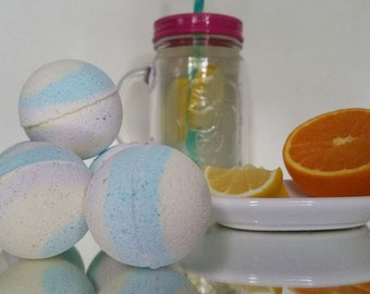 Pack of 4 small Wake Up Citrus Bath Bombs energy boosting rainbow sizzle fizz peppermint sweet orange lemon essential oils plant therapy