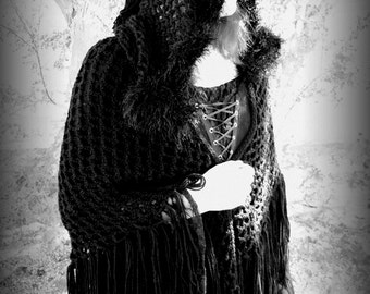 Crimson Moonlight Renaissance Medieval Hooded Shawl Crochet Pattern