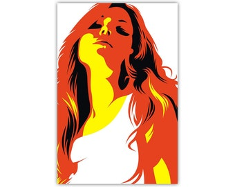 Attitude, Woman, Canvas Print, Illustration, Modern Art, Large Poster
