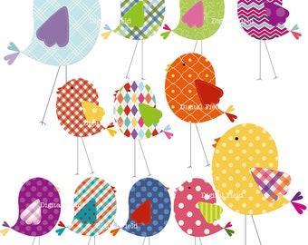 Bird Clip Art Set - colorful patterned printable digital clipart - instant download