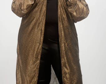 Plus size Long kimono,cover up,Light jacket, duster Two tone Gold and Silver long sleeve , see through, sheer, sizes 10-28 FREE UK SHIPPING