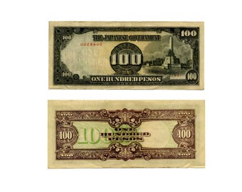 1944 Japanese Army Occupation Currency - Philippines Invasion and Occupation - World War 2 - 100 PESO banknote