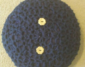 Handmade crochet decorative pillow w/ vintage buttons nursery decor crochet cushion