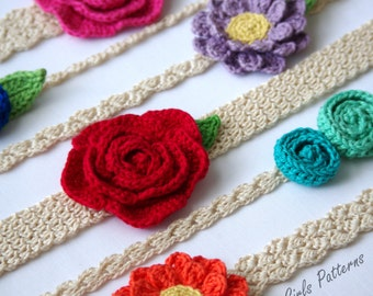 Easy Crochet headband pattern - 6 headbands 3 flower patterns included -Newborn to Adult sizing - Instant Download - pattern - 216  kc550