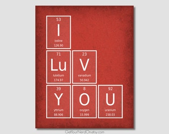 I Love You - Periodic Element Word Poster - Wall Art Print - Available as 8x10, 11x14 or 16x20