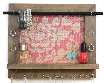 Jewelry Organizer - Jewelry Holder That Hangs On The Wall - Floral Pattern - Women Gifts