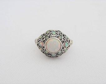 Vintage Sterling Silver White Opal Filigree Ring Size 9