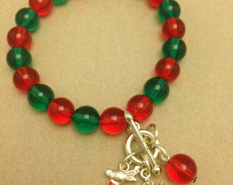 Vintage Holiday Red and Green Bracelet
