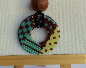 Washi Tape Washer Pendant Chocolate Teal Cream Dots Lines