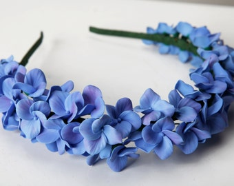 Hydrangea headband, flower headband, flower touch, hydrangea hair, flower hair, flower crown, polymer clay flowers, blue hydrangea headband