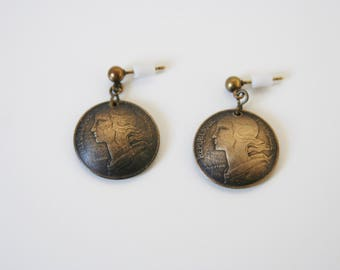French Coin Earrings Dangles Currency Republique Francaise Money Coins - made from French coins