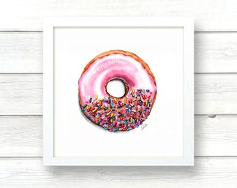 strawberry frosted donut print of original watercolor painting