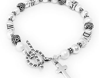 What Would Jesus Do WWJD Sterling Silver Bracelet with a Cross Charm