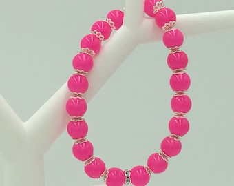 Stretch Bracelet, Bright Pink