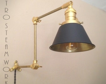 Articulating Wall Mount Industrial Light - Unfinished Raw Brass & Black Modern Sconce Cone Lamp