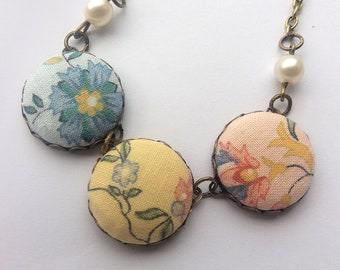 Tea Set Necklace, Fabric Buttons.