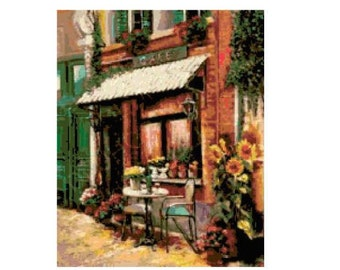 Sidewalk Cafe Cross Stitch Chart
