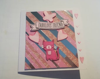 Handmade 5x5 fabulous friend card